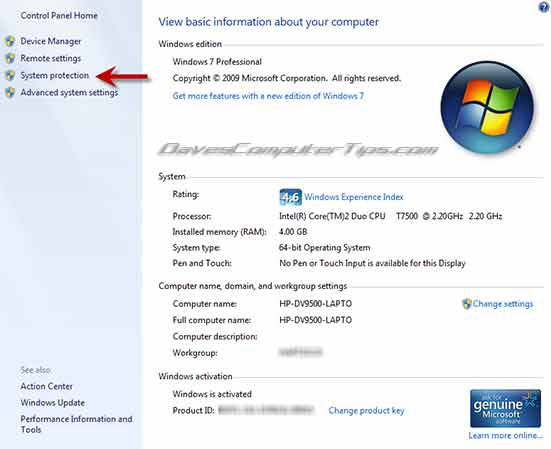 How to manage system restore size and restore points in Windows 7