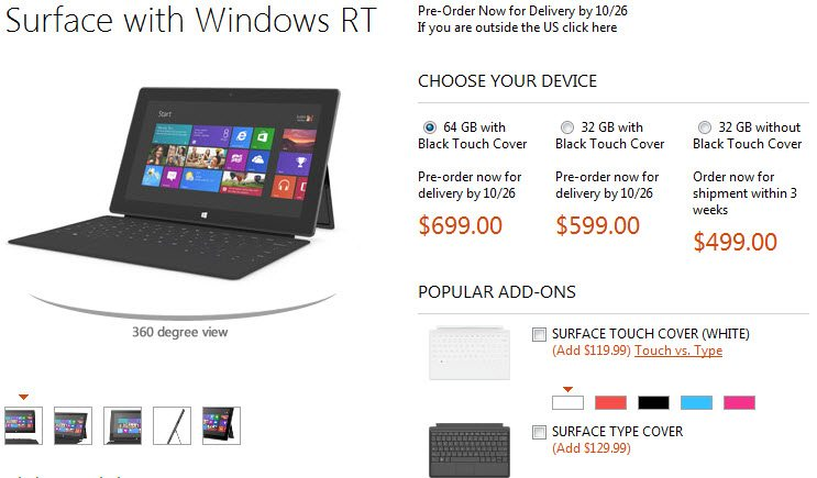 Surface pricing
