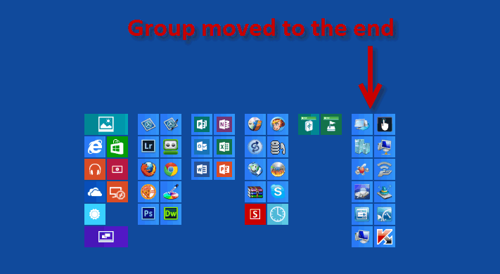 windows 8 start screen group moved