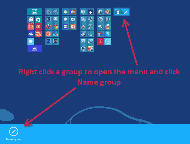 Name a Windows 8 start screen group