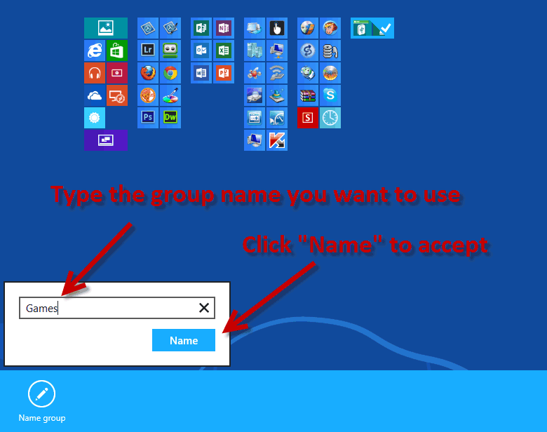 Name a group on the windows 8 start screen