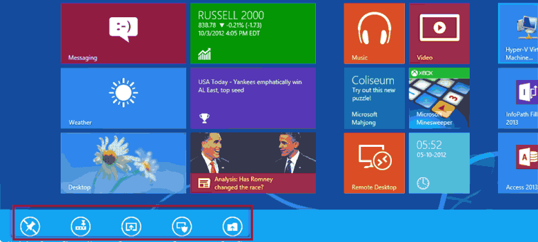windows 8 start screen right click options