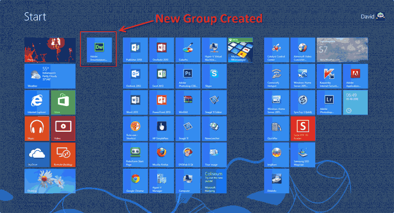 A new group created on the windows 8 start screen