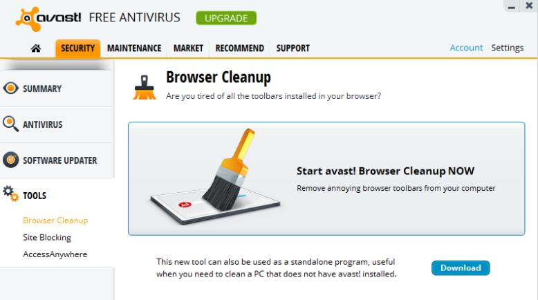 Avast 8 browser cleanup tool