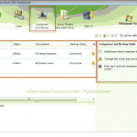The Windows Home Server 2011 Dashboard: Computers and Backup tab