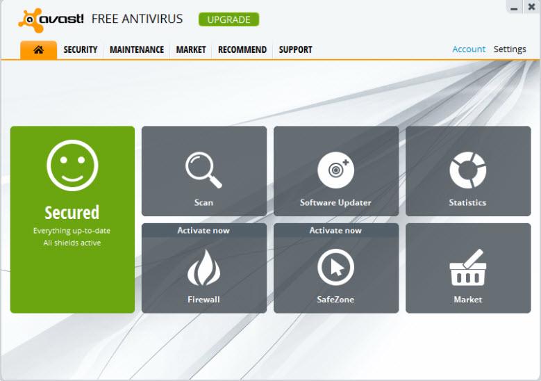 avast free interface