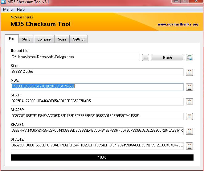 MD5 checksum tool