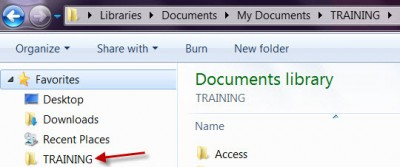 Training Folder Shown