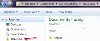 Training Folder Shown