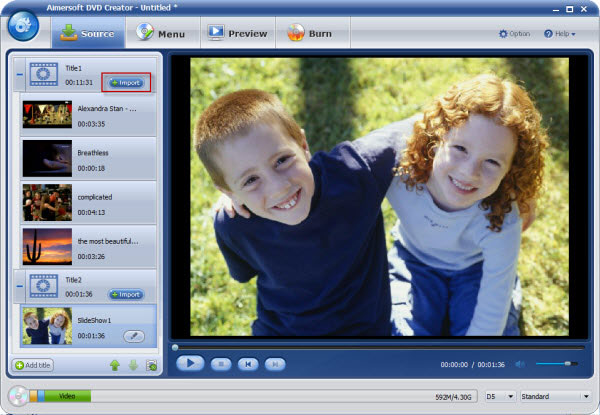 aimersoft dvd creator interface