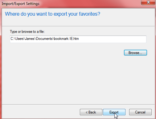 export IE favorites 5