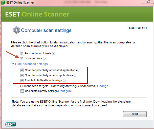 eset online scanner adcanced settings