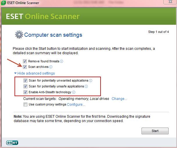 eset online scanner adcanced settings