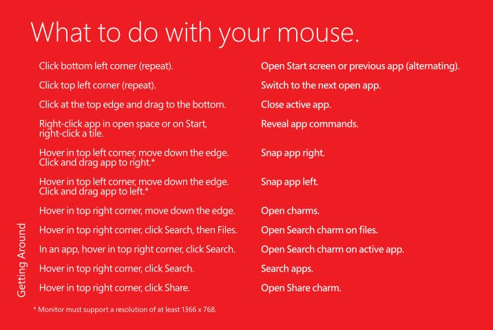 windows 8 brochure - mouse actions