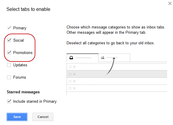 Gmail settings - deselect tabs
