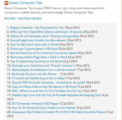 Instant rss feed - preview