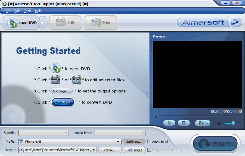 aimersoft dvd ripper - main interface