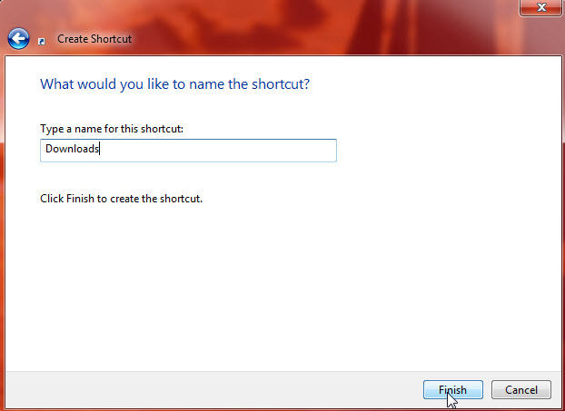 create shortcut - name