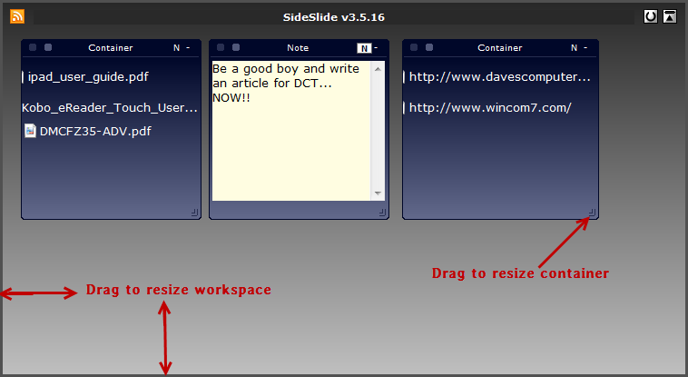 sideslide- new workspace
