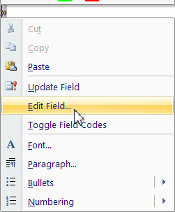 Edit Field Menu