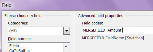Field Window Field Code Editing