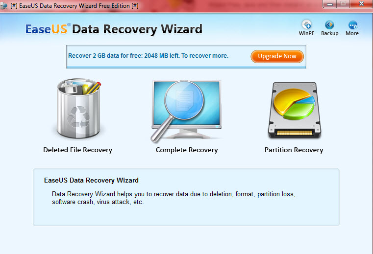 easeus data recovery - main interface