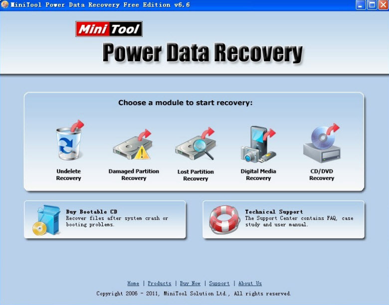 minitool data recovery - main interface