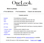 OneLook: Search more than 1000 dictionaries all in one place