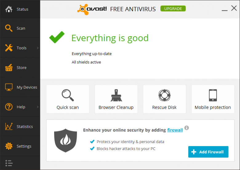 avast main interface