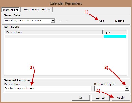 desktop calendar - setting reminders