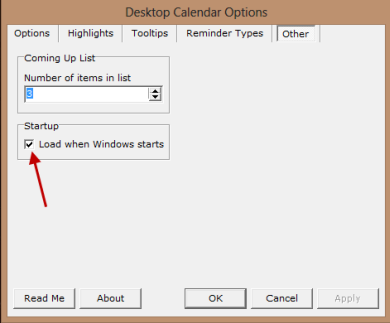 desktop calendar - start with windows