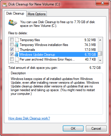disk cleanup windows updates