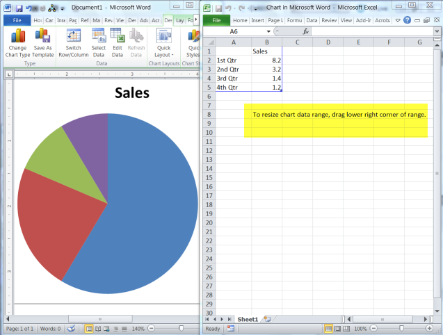 How to Add a Pie Chart in a Word 2010 Document | Daves Computer Tips