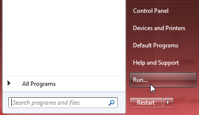 add run command - windows 7