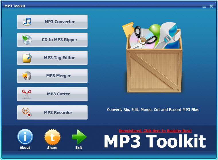 mp3 toolkit - main interface