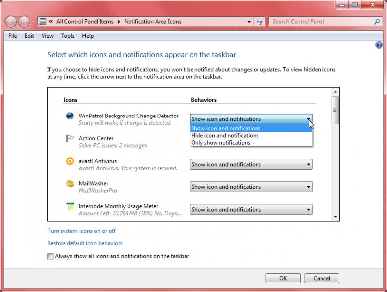 notification area - customize