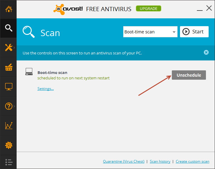 Avast - unschedule scan