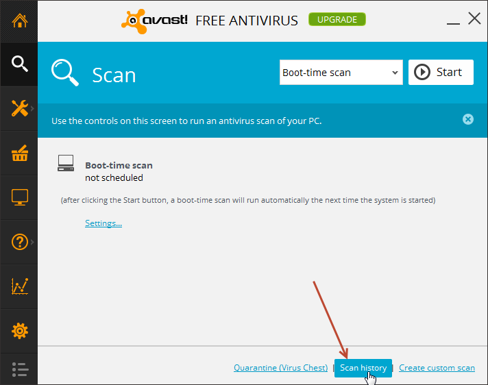 avast - scan history.