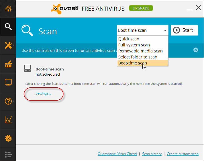 avast - select boot time scan