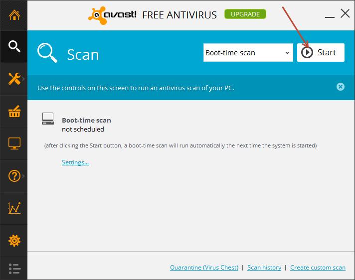 avast - start scan