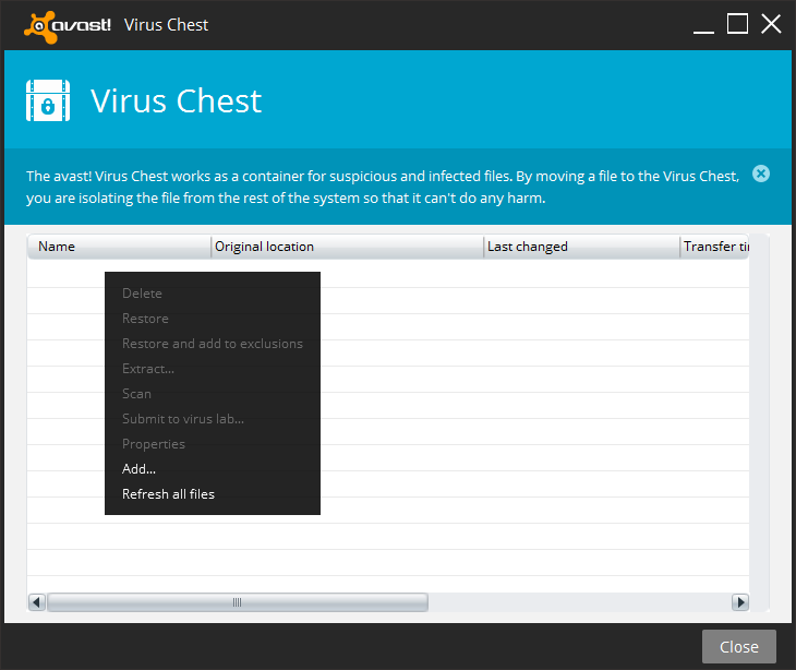 avast - virus chest