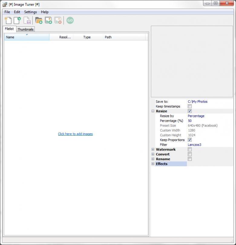 image tuner main interface