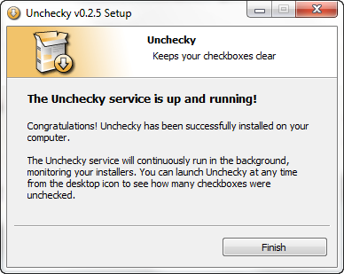 unchecky installation message