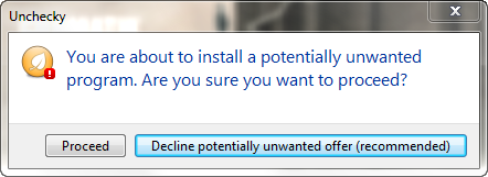 unchecky warning message