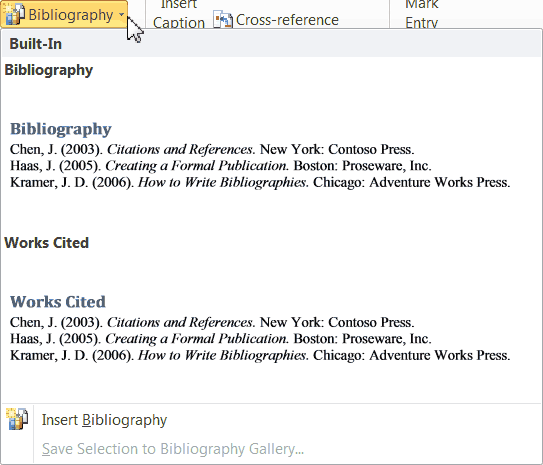 creating a bibliography Create a bibliography in word, based on common citation formats that are built-in including apa, mla, chicago, and more.