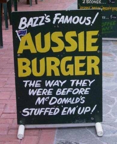 The famous Aussie burger