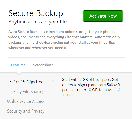 avira - secure backup