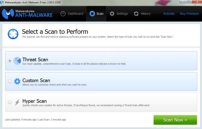 mbam -2 - scan settings