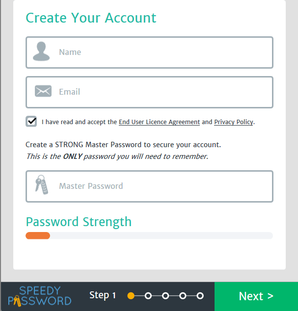 speedy password - create account