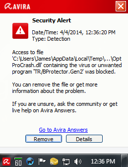 avira warning message